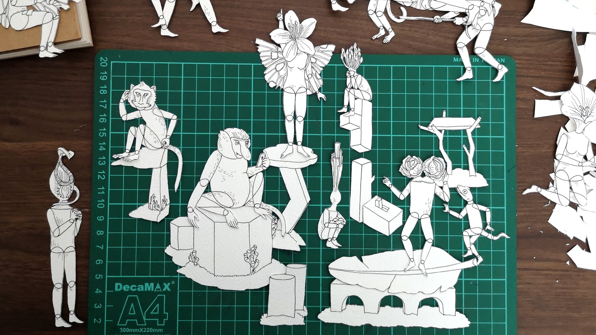 Progress shot of hybrid puppets and background objects in the  Inhabitants  piece.