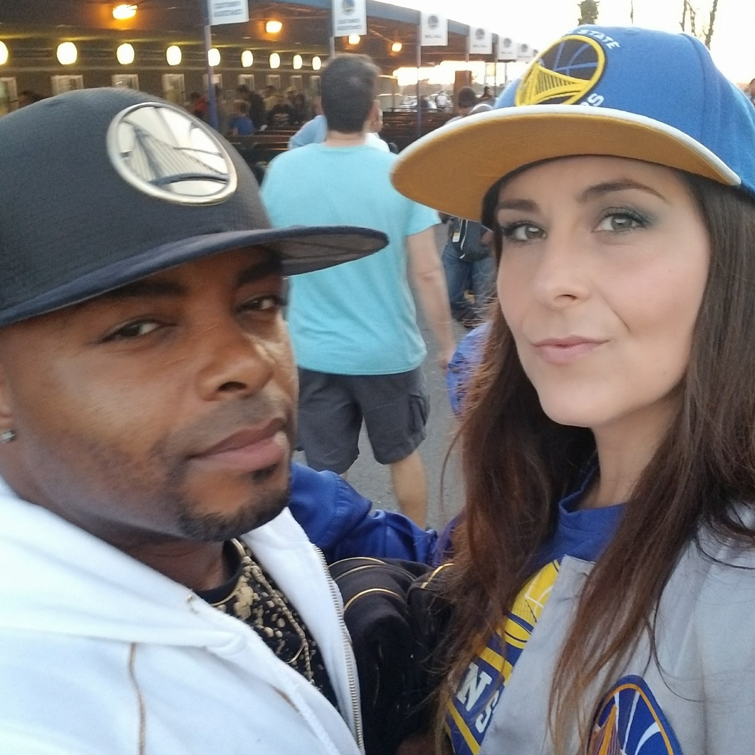 John Wallace & Melissa Greene at a Warriors Game