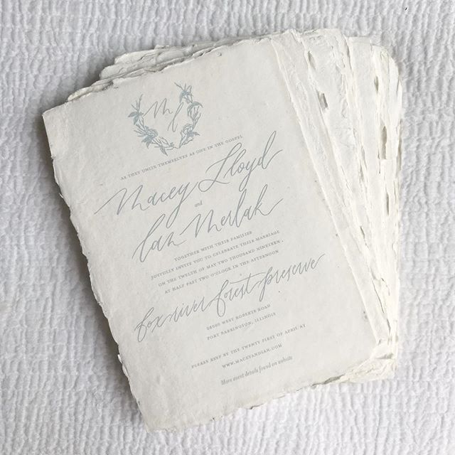 guys, you have NO idea how excited i am to be sharing this photo! if you know me, you know i love creating pretty paper goods... but it was FAR more exciting to create my very own wedding invitations. 🌿 . . . me and ian's invitations were exactly the way we wanted them. to be honest, they encapsulated my design style so well. simple design, handmade paper, romantic calligraphy... i just love it all. 😍 . . . #evergreenandink #custominvitations #weddingplanner #weddingstyle #dustybluewedding #weddingphotography #weddingplanning #engagementring #paper #calligraphy #weddingpaper #weddinginvitations #weddinginspiration #weddingdesign #weddingduetails #wedding #invitations #fineartwedding #weddings #invitation #chicagowedding #chicago #chicagobride #engagedlife #weddingrings #weddingday #vsco #vscocam