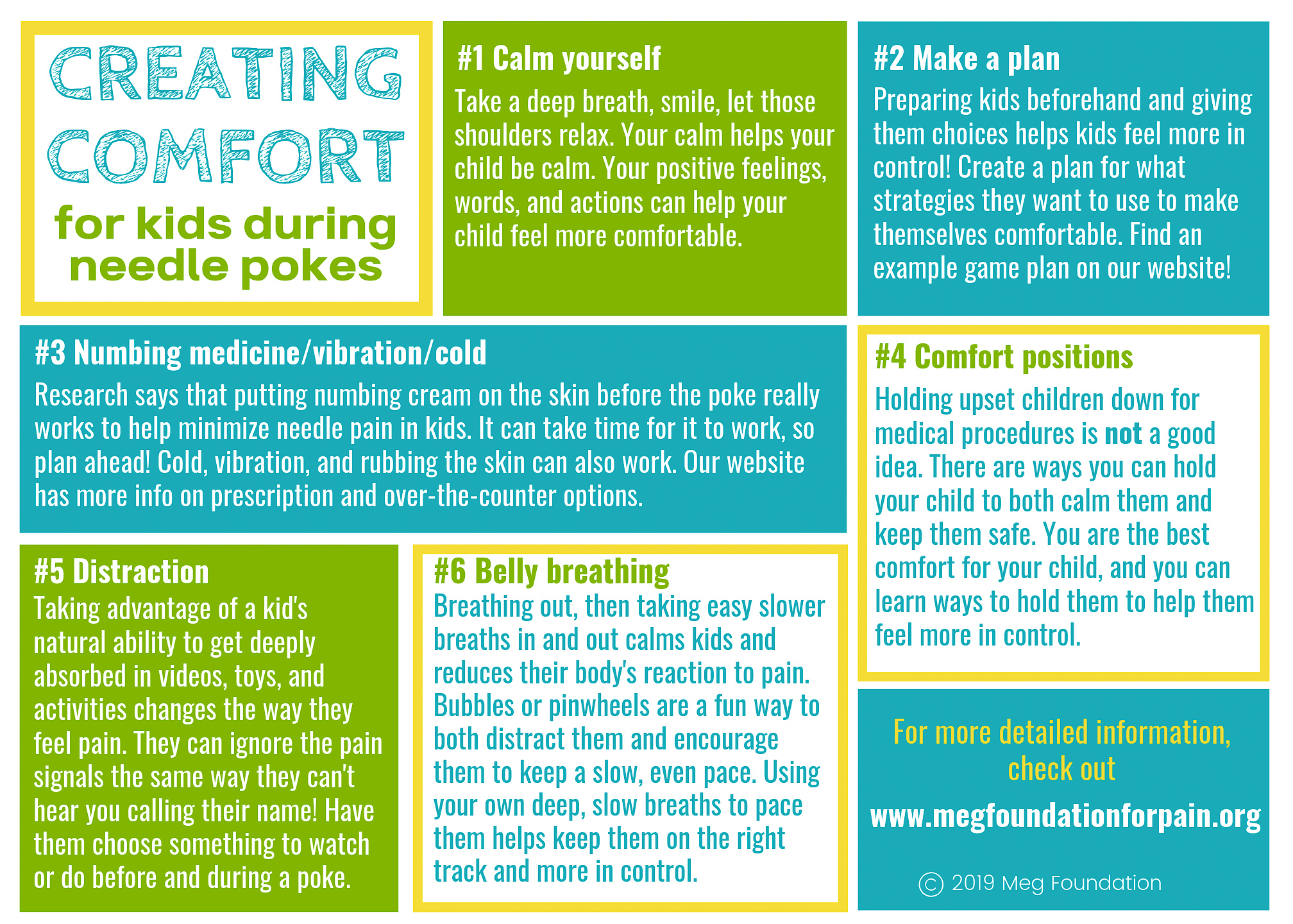 Click and print this infographic on quick tips about how to help kids feel more comfortable and in control during needle pokes. -