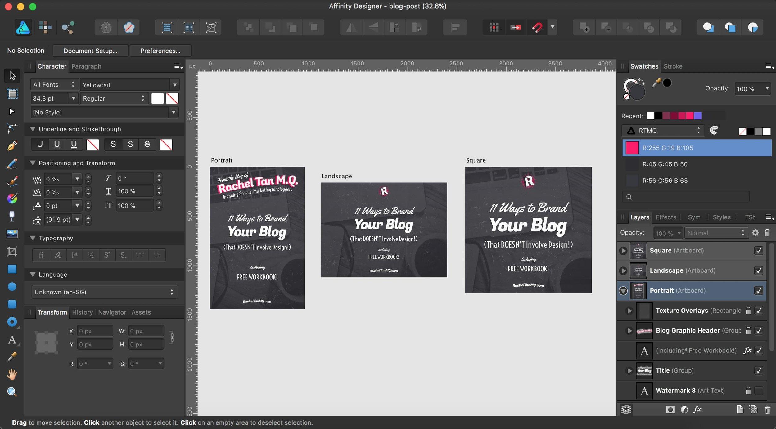 RachelTanMQ.com blog post graphics template in Affinity Designer