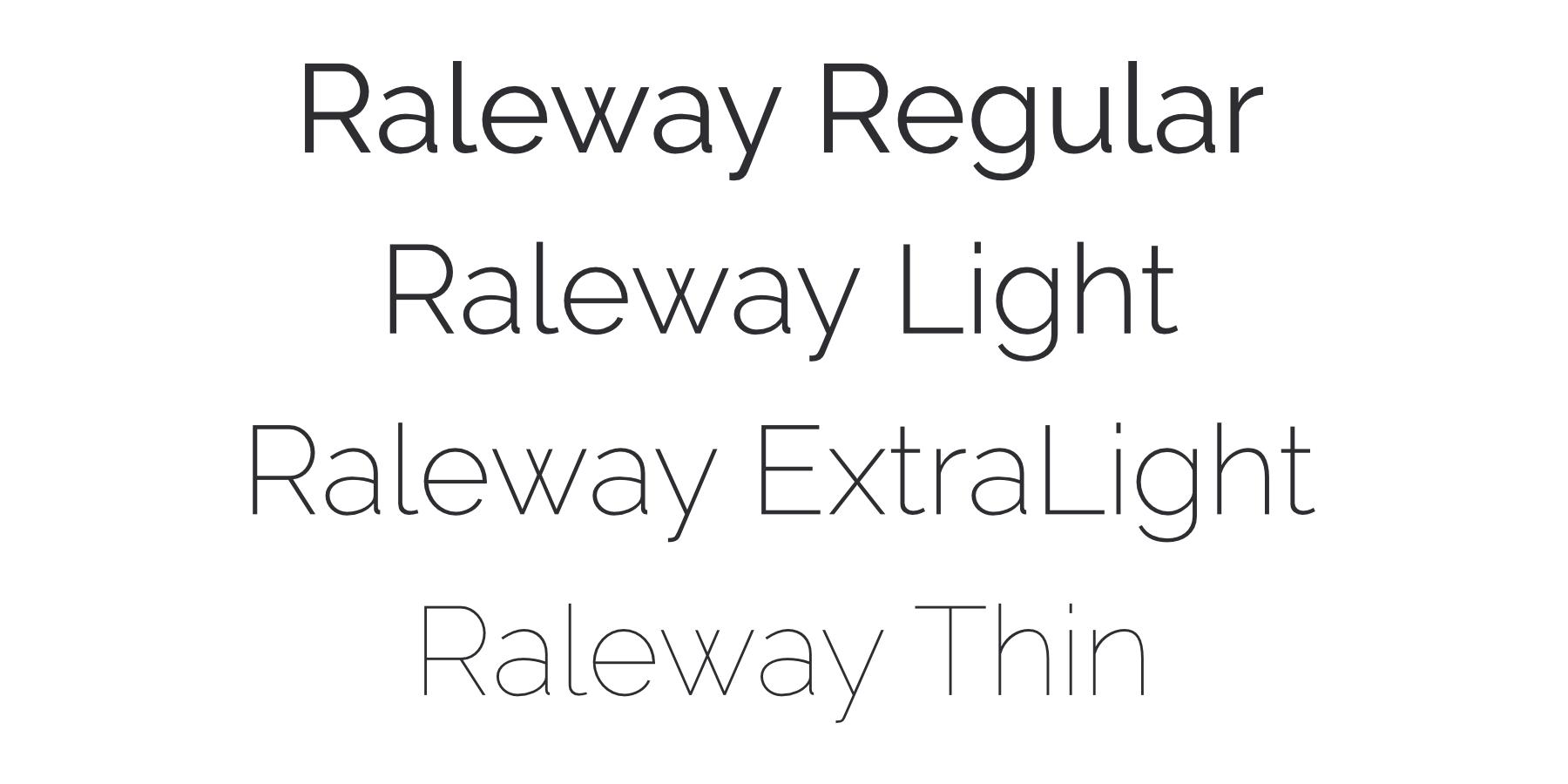 Raleway light font weights