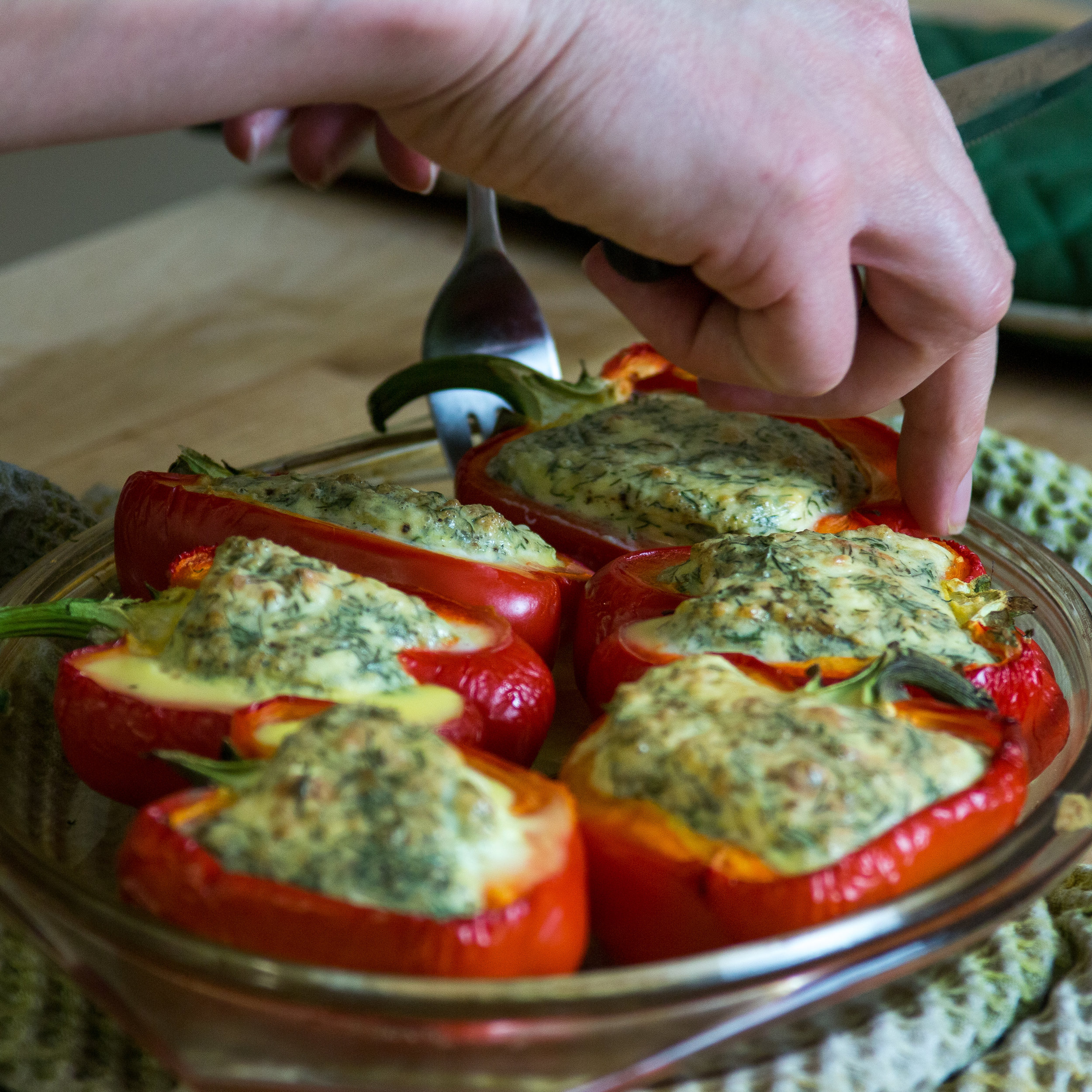 Feta & Egg Stuffed Peppers
