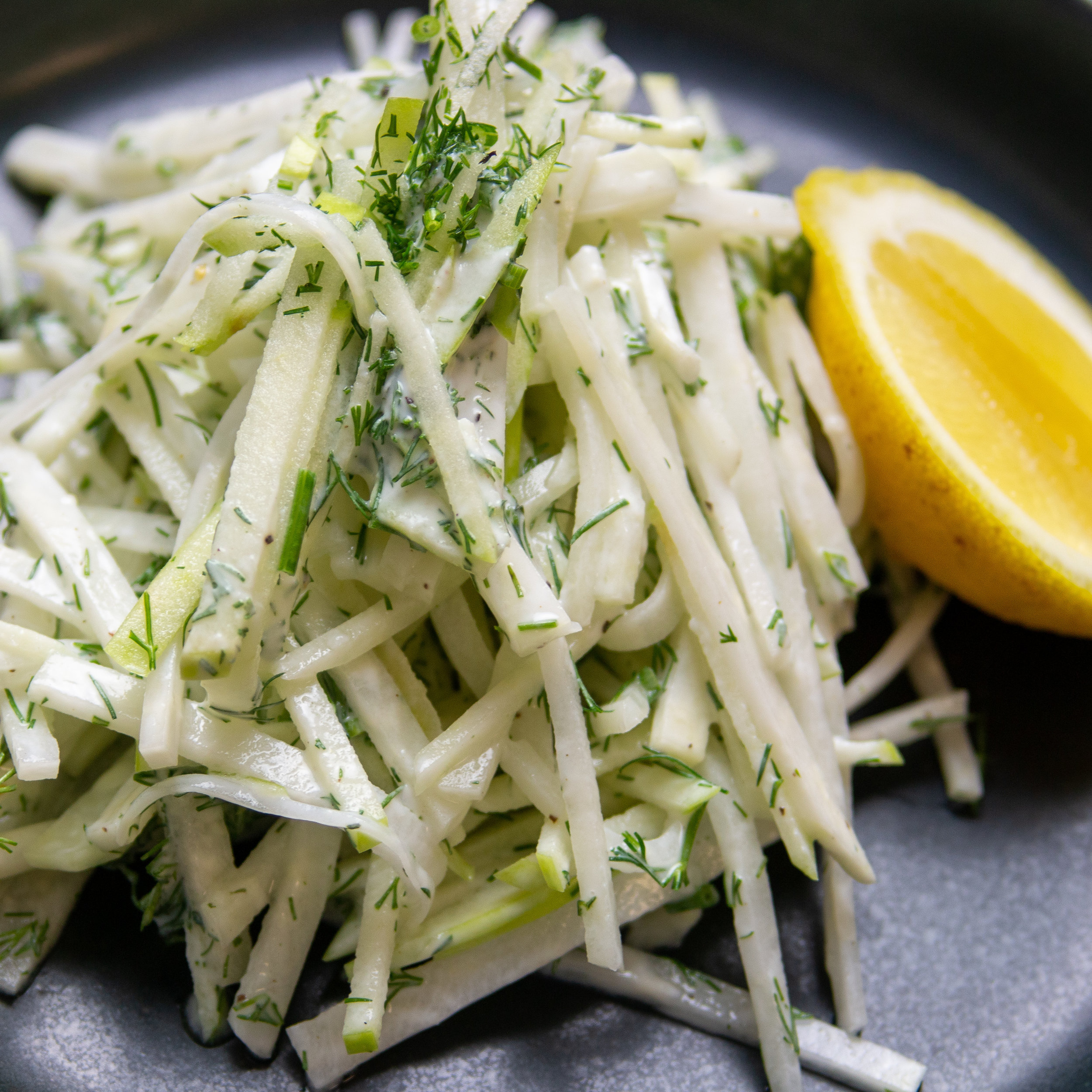Kohlrabi Salad with Apple & Dill