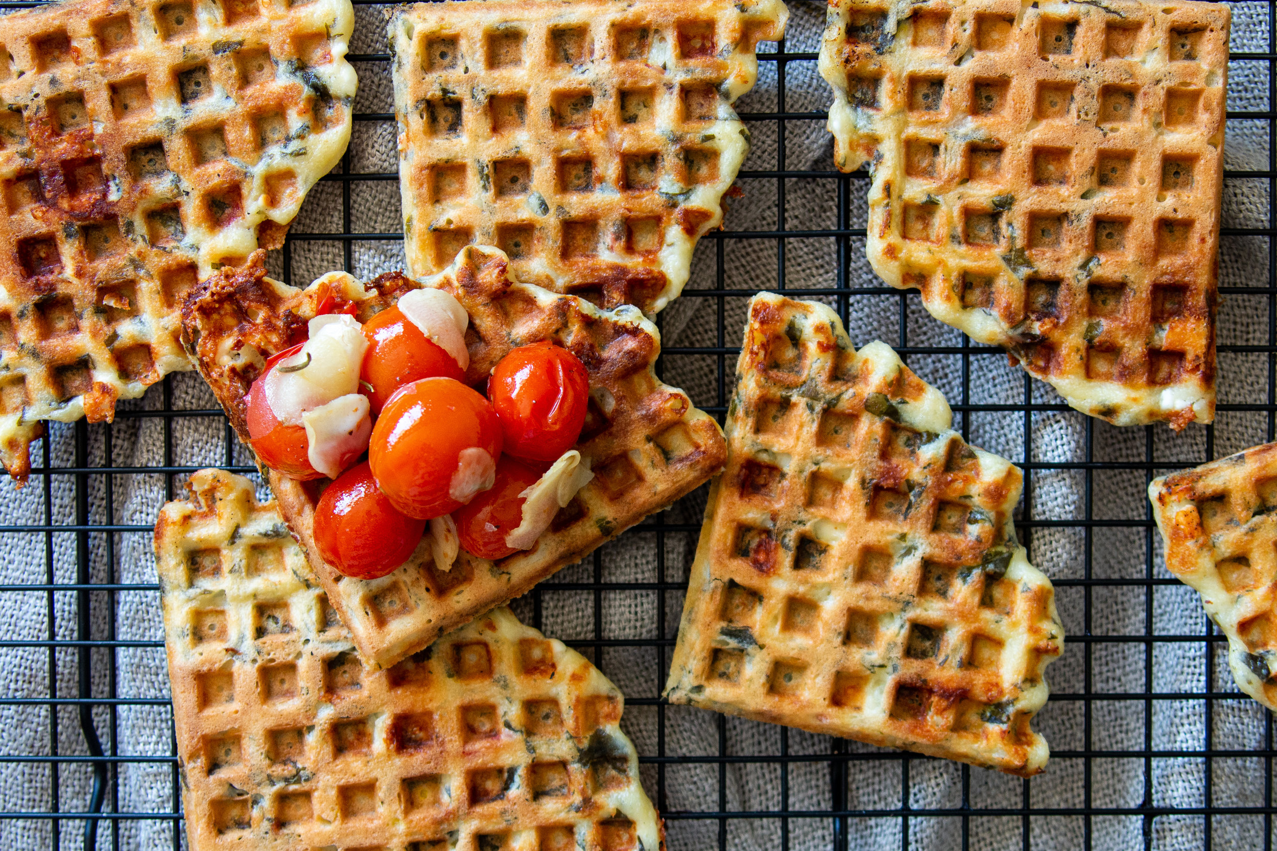 Savory Waffles With Spinach And Feta