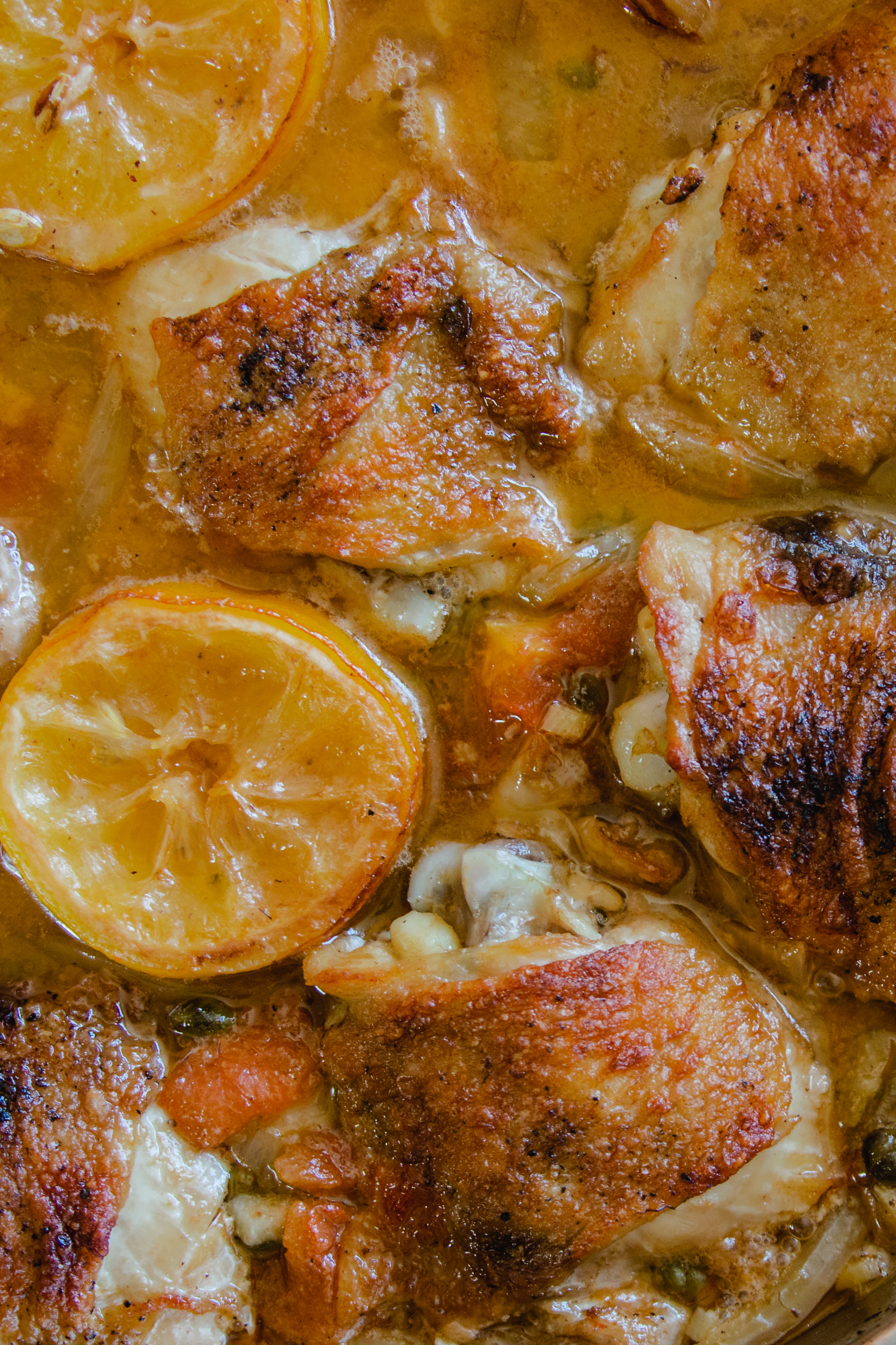 Lemon Caper Braised Chicken Thighs