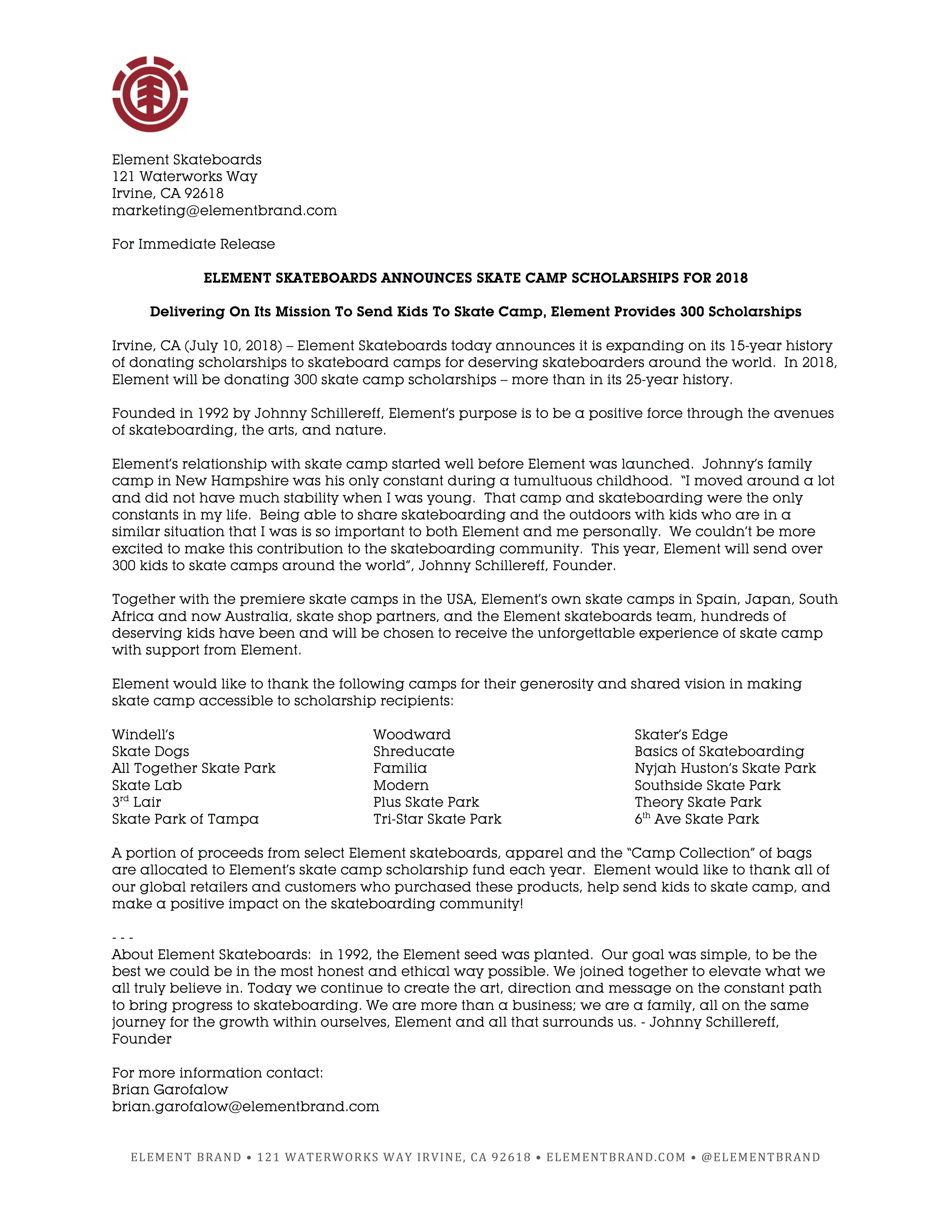 Element Announces 2018 Skate Camp Scholarships Press Release.png
