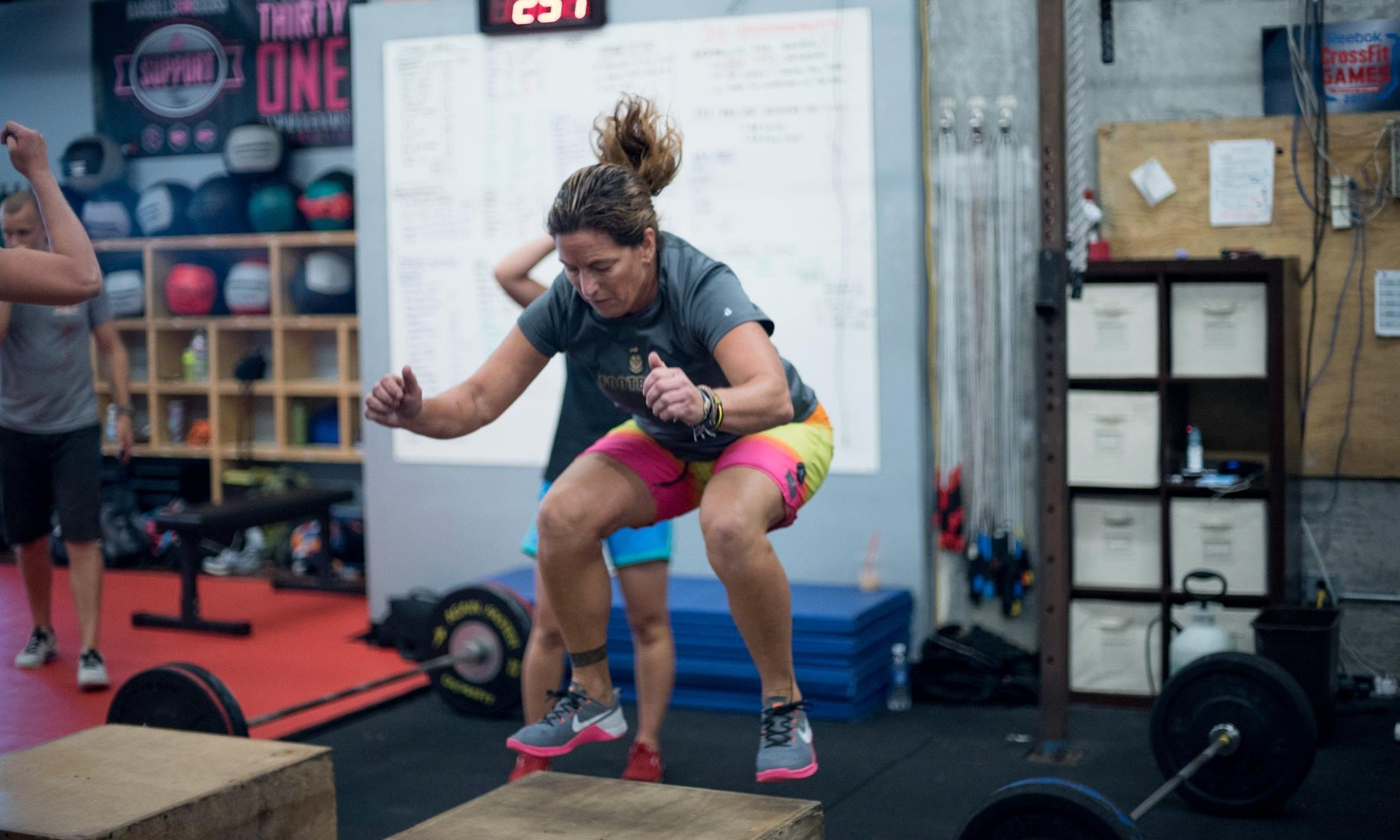 Carrie Rey   Carrie graduated from Cal State Long Beach and is a science teacher at Bishop Montgomery High school. She was a volleyball coach for 25 years and has had her CrossFit L1 Certification for three years. She has also been a strength and conditioning coach for three years.