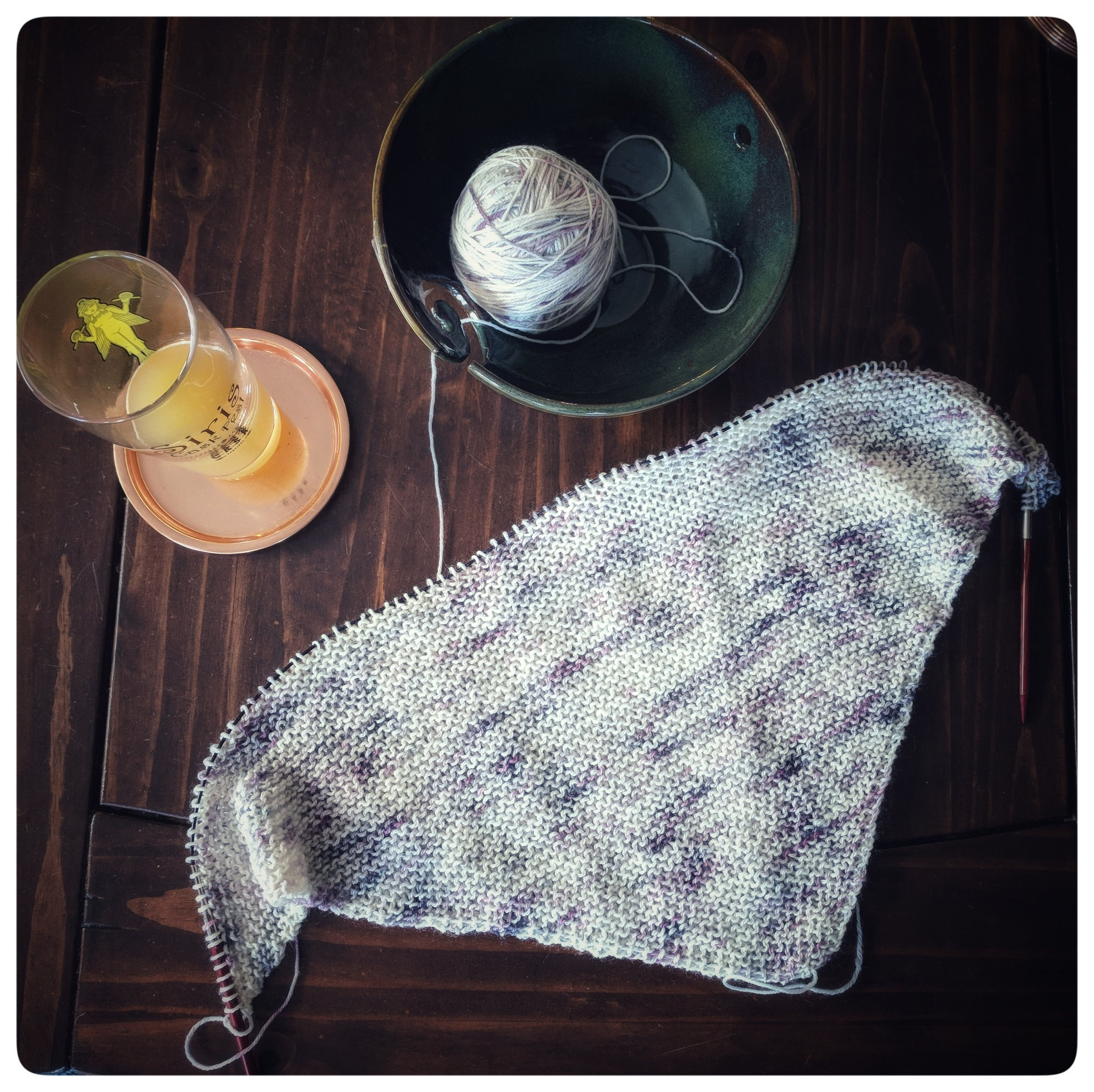 Beginnings of the  Selkie Shawl  on  Blossom & Fern Yarn Co 's Darling Sock +white anemones+
