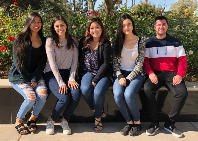 Pictured from left to right: Janell Bush, Samantha Hernandez, Yvonne Nguyen, Lydia Shehab and Omar Soussan.