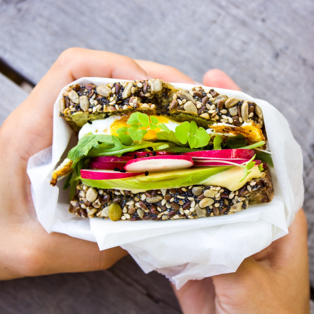 Healthy and easy to make veggie sandwich with chia sprouts and black cumin. GF
