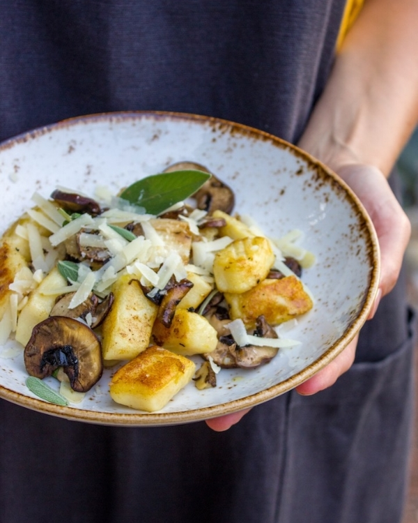 Homemade Gnocchi with king oyster mushrooms and sage butter