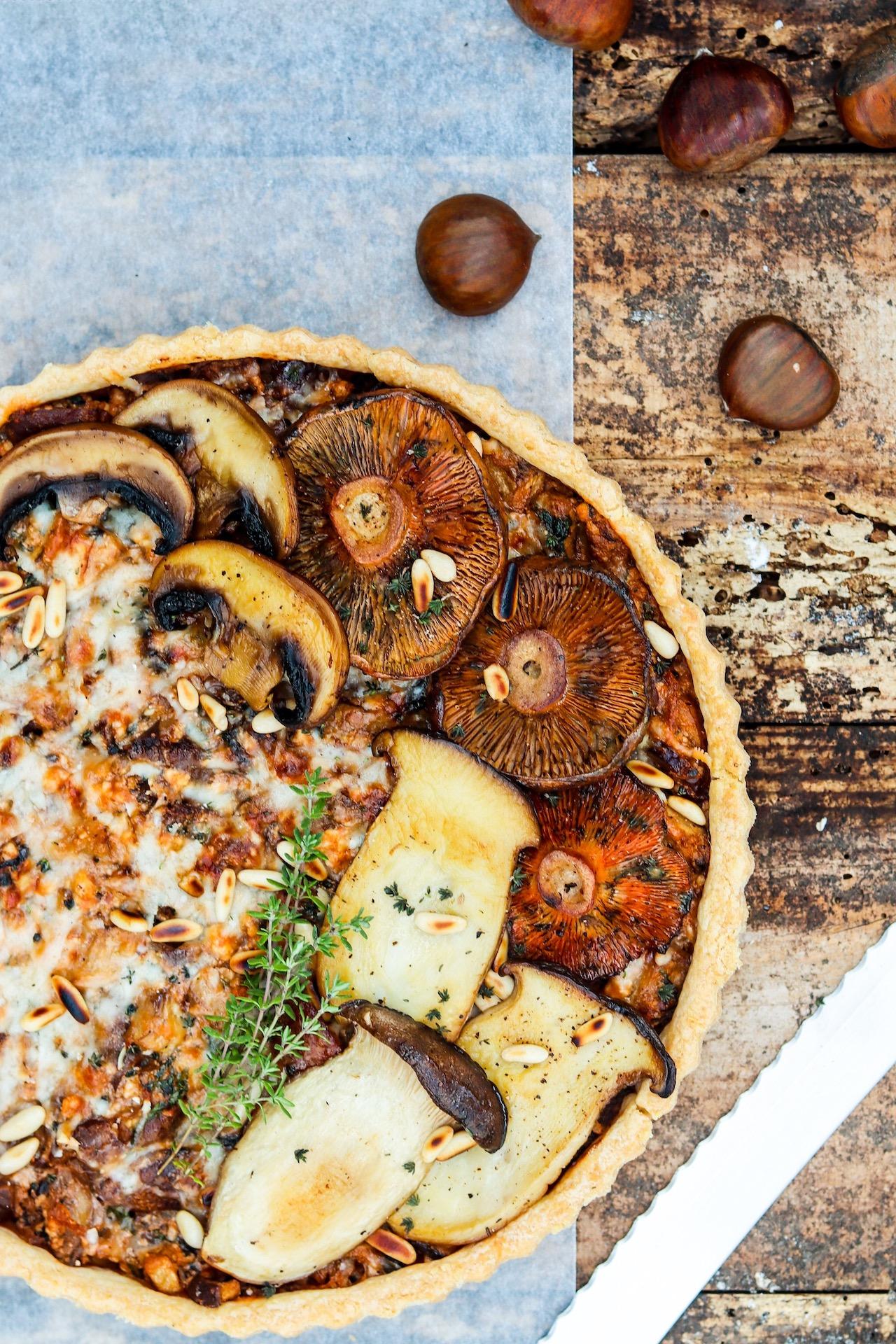 Weihnachtliche Tarte mit Maronen und Pilzen #vegetarisch #weihnachten