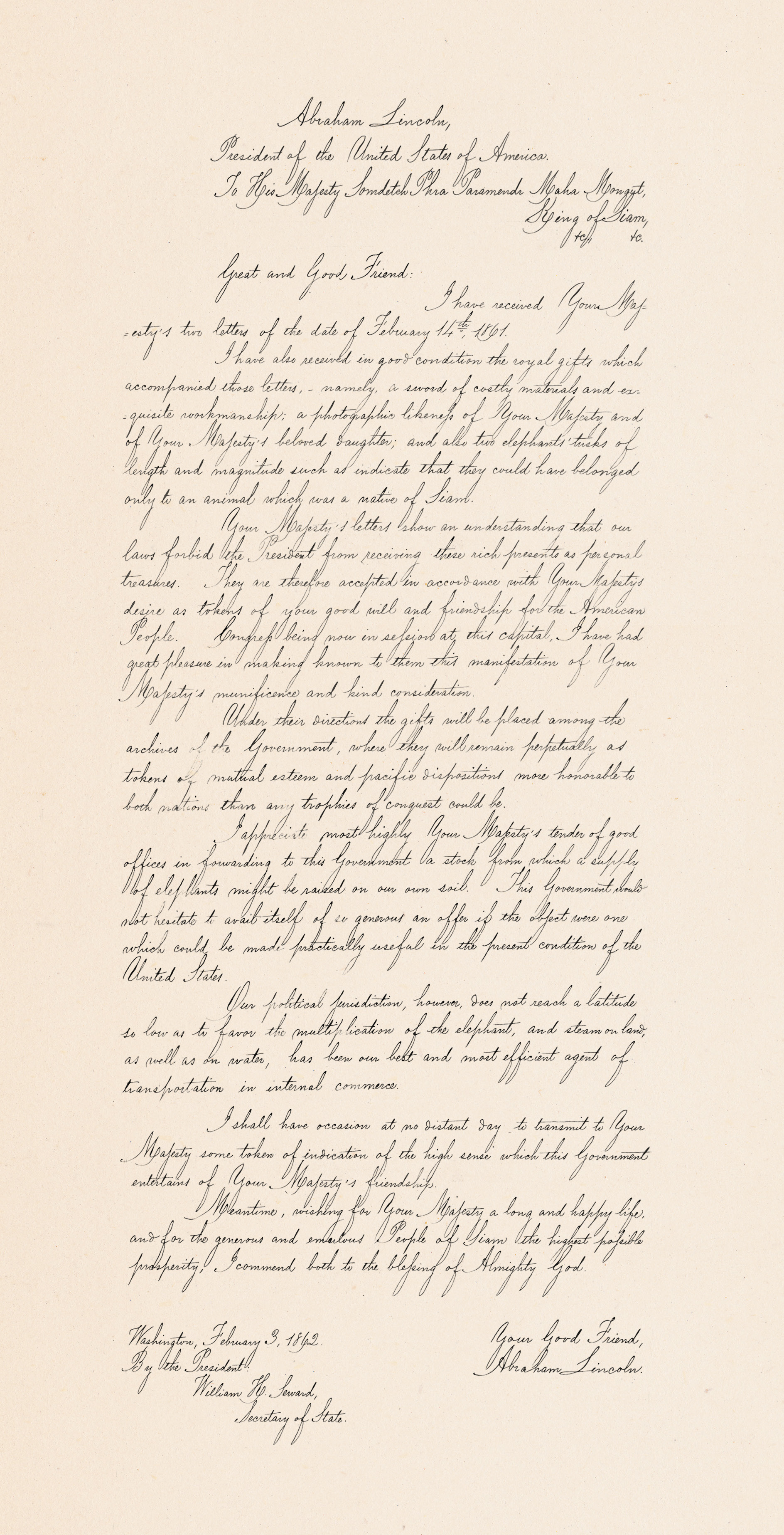Letterbook copy of letter from President Abraham Lincoln to King Mongkut of Siam, February 14, 1862 Letter to Foreign Sovereigns and Heads of State, 1829-1877, General Records of the Department of State National Archives and Records Administration (National Archives Identifier 6158611)