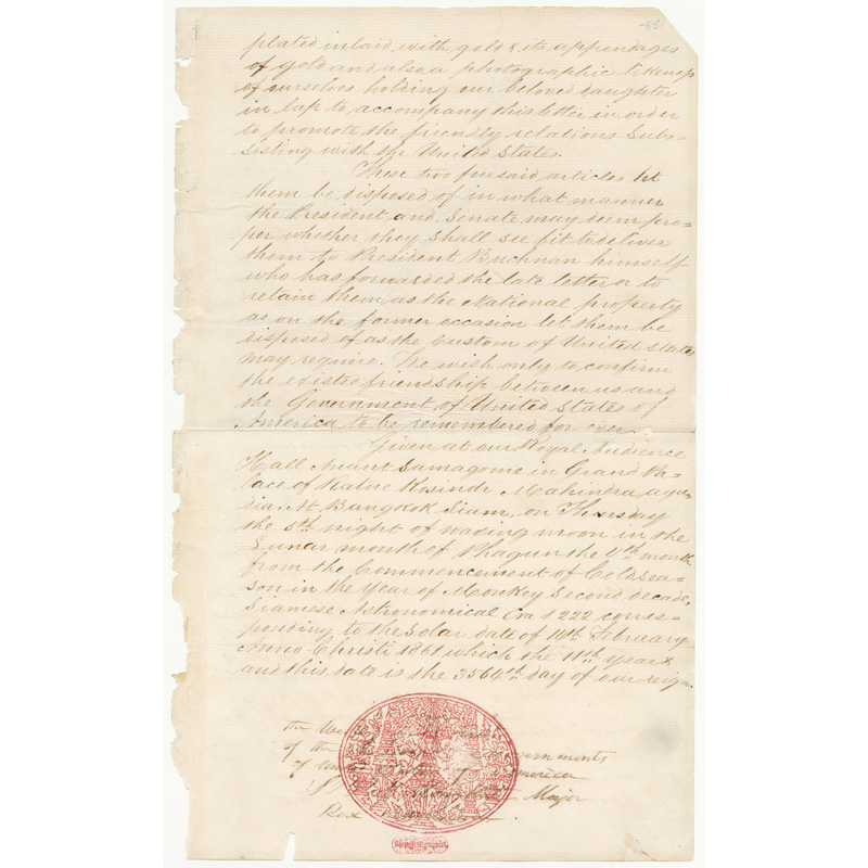 Letter from King Mongkut to President James Buchanan (excerpt), 1861 Courtesy of the National Archives and Records Administration, General Records of the United States Government; 6923530
