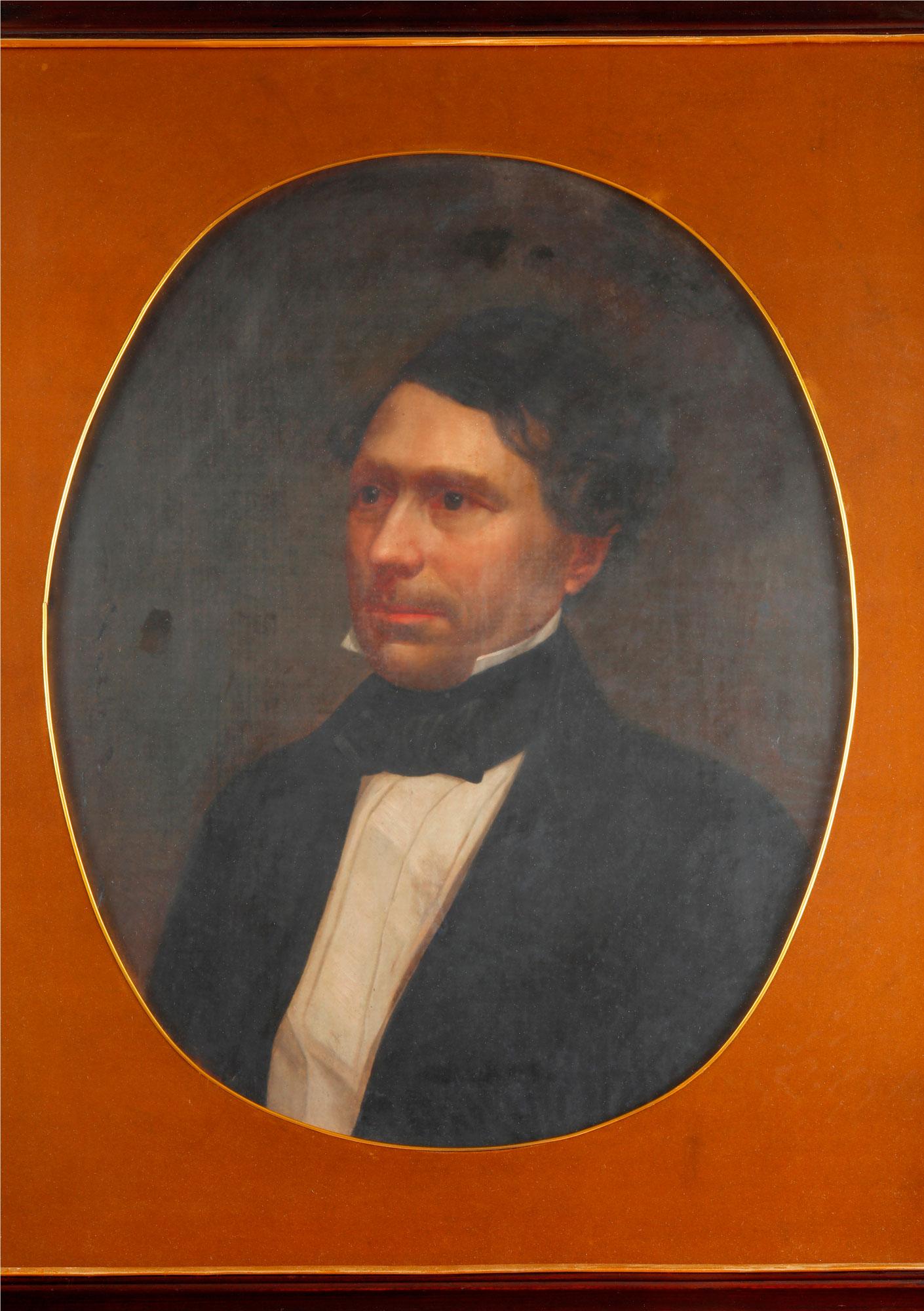 Portrait of Franklin Pierce Unknown Artist Gift from President Franklin Pierce to Second King Pinklao, 1856 98 x 84 cm Courtesy of the Fine Arts Department of Thailand  ภาพเหมือนประธานาธิบดีแฟรงกลิน เพียร์ซ ศิลปินไม่ทราบชื่อ ของขวัญจากประธานาธิบดีแฟรงกลิน เพียร์ซ ทูลเกล้าฯ ถวายแด่พระบาทสมเด็จพระปิ่นเกล้าเจ้าอยู่หัว พ.ศ. ๒๓๙๙ ๙๘ x ๘๔ ซม. ได้รับความอนุเคราะห์จากกรมศิลปากร