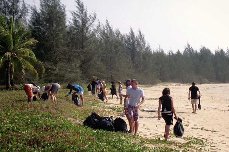 Weekly beach clean with guests on surrounding beaches
