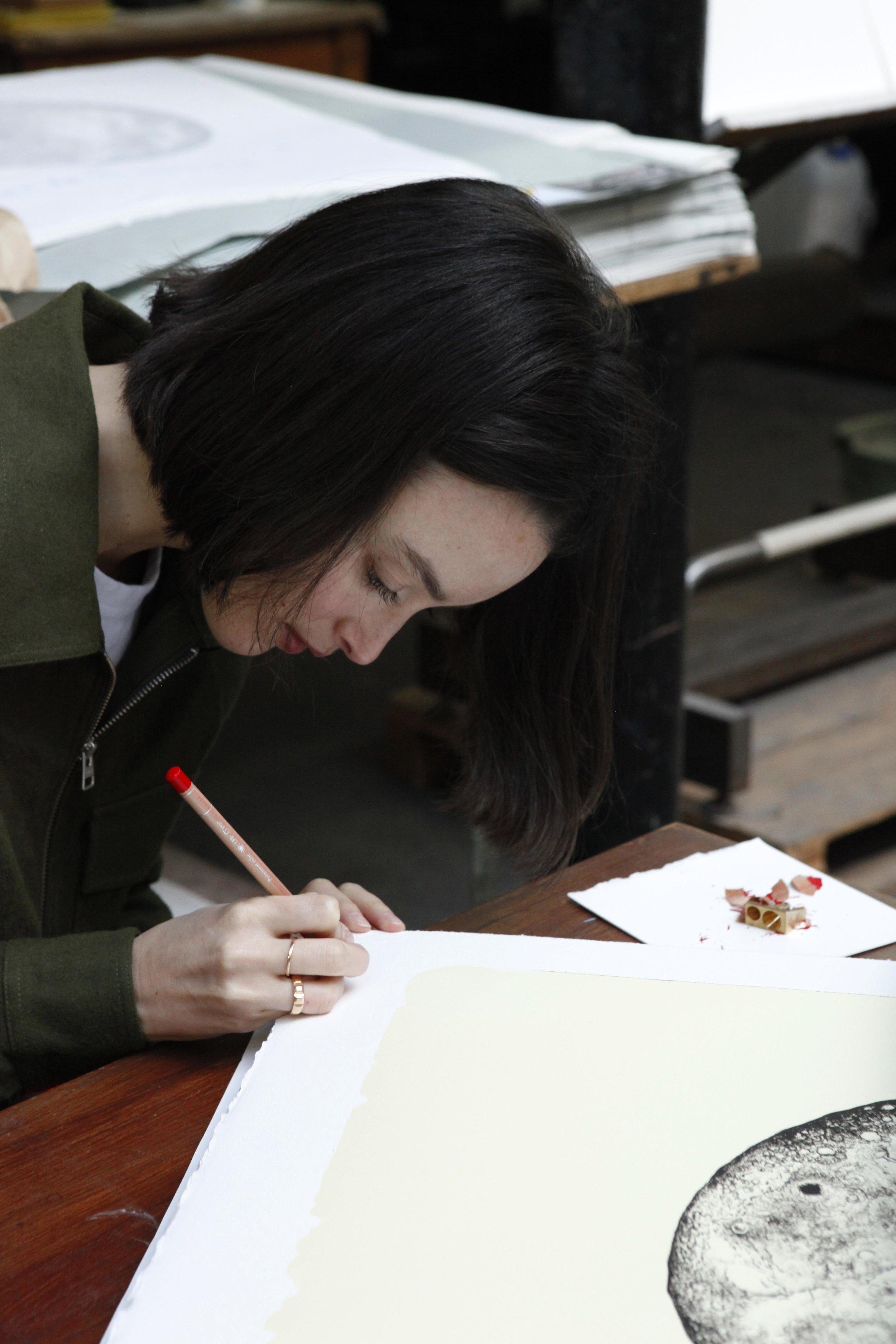 """SOLD OUT !    """"The Moon"""", la nouvelle lithographie sur pierre de Charlotte Le Bon est disponible dès aujourd'hui à Idem Paris.   Lithographie sur pierre en 2 couleurs, 80 exemplaires sur BFK Rives 250g, signés et numérotés par l'artiste.  https://www.idemparis.com/fr/charlotte-le-bon/the-moon  Pour toute information ou pour acheter la lithographie, merci de nous contacter à:  info@idemparis.com ou idem.paris@free.fr    —————————————————————————————————————————————————————————————     SOLD OUT !     """"The Moon', Charlotte Le Bon's new lithograph on stone is available from today at Idem Paris. 2 couleurs lithograph on stone, 80 ex. on BFK Rives 250gsm, signed and numbered by the artist.    https://www.idemparis.com/fr/charlotte-le-bon/the-moon    For all information or purchase, please contact us at:  info@idemparis.com or idem.paris@free.fr"""