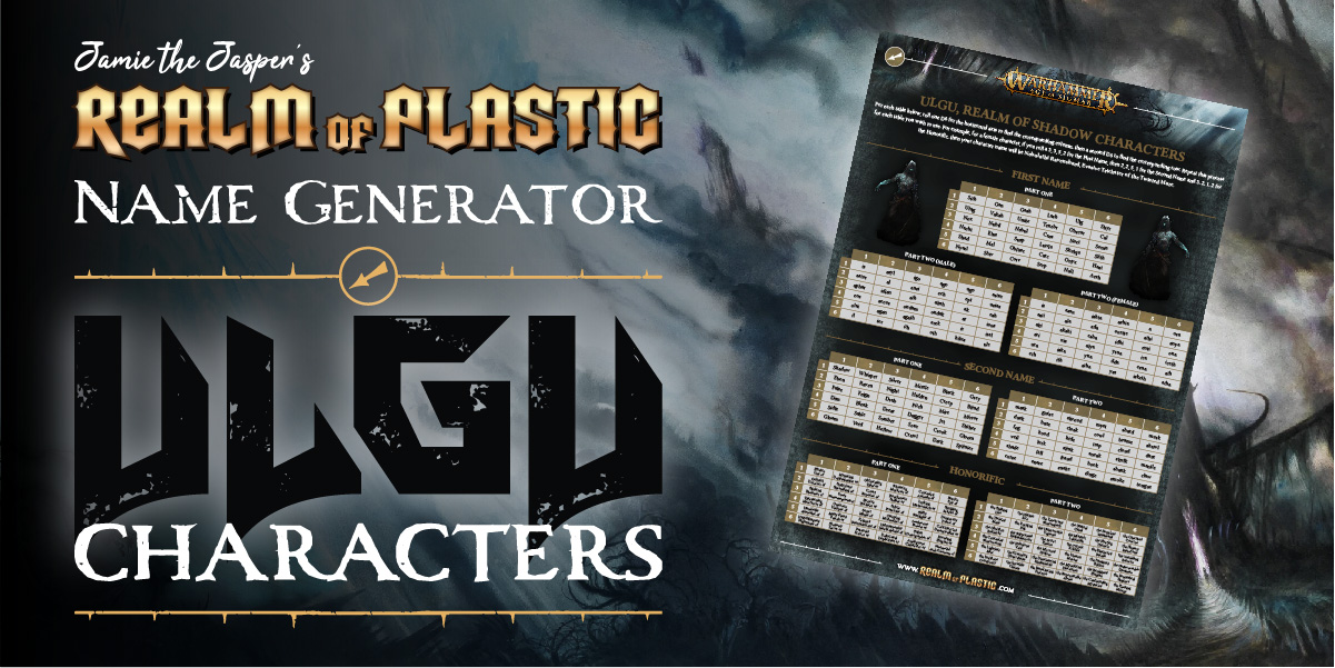 Warhammer Age of Sigmar blog. Fantasy character name generator for the Realm of Shadow (Ulgu).
