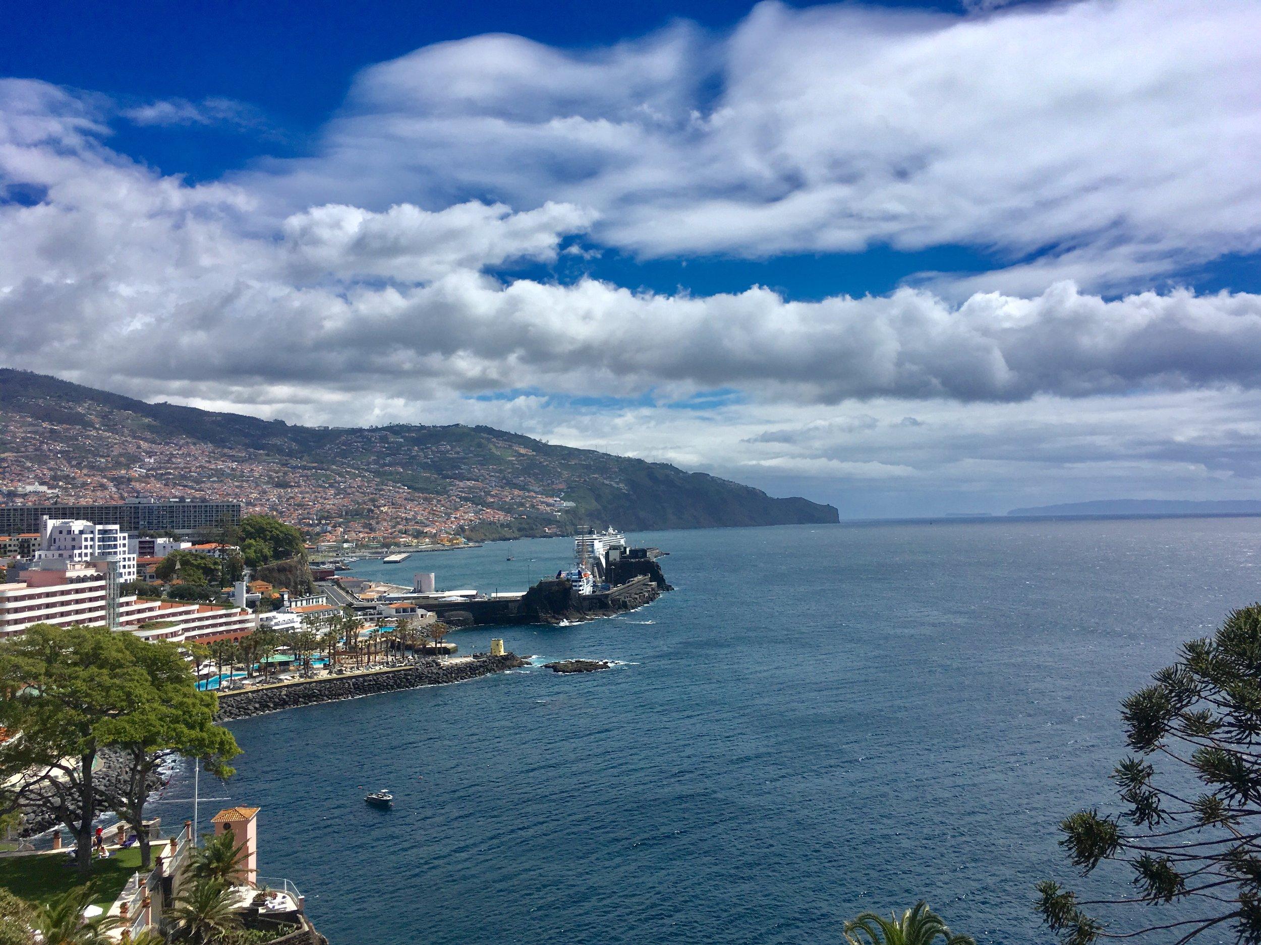 MSC OPERA in Funchal harbour, from Reids Hotel terrace.