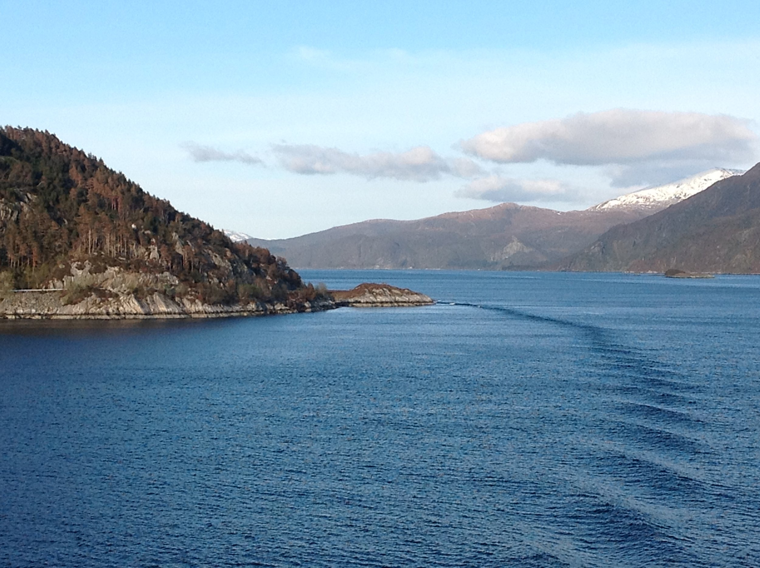 Early morning fjords breakfast view