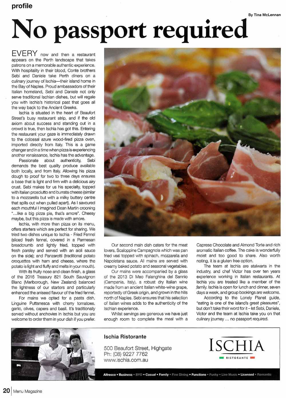 Coverage in Menu Magazine