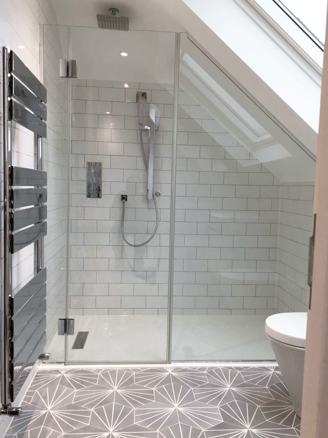 Glass Shower Screen And Door Angled To Fit A Sloping Ceiling The Glasssmith