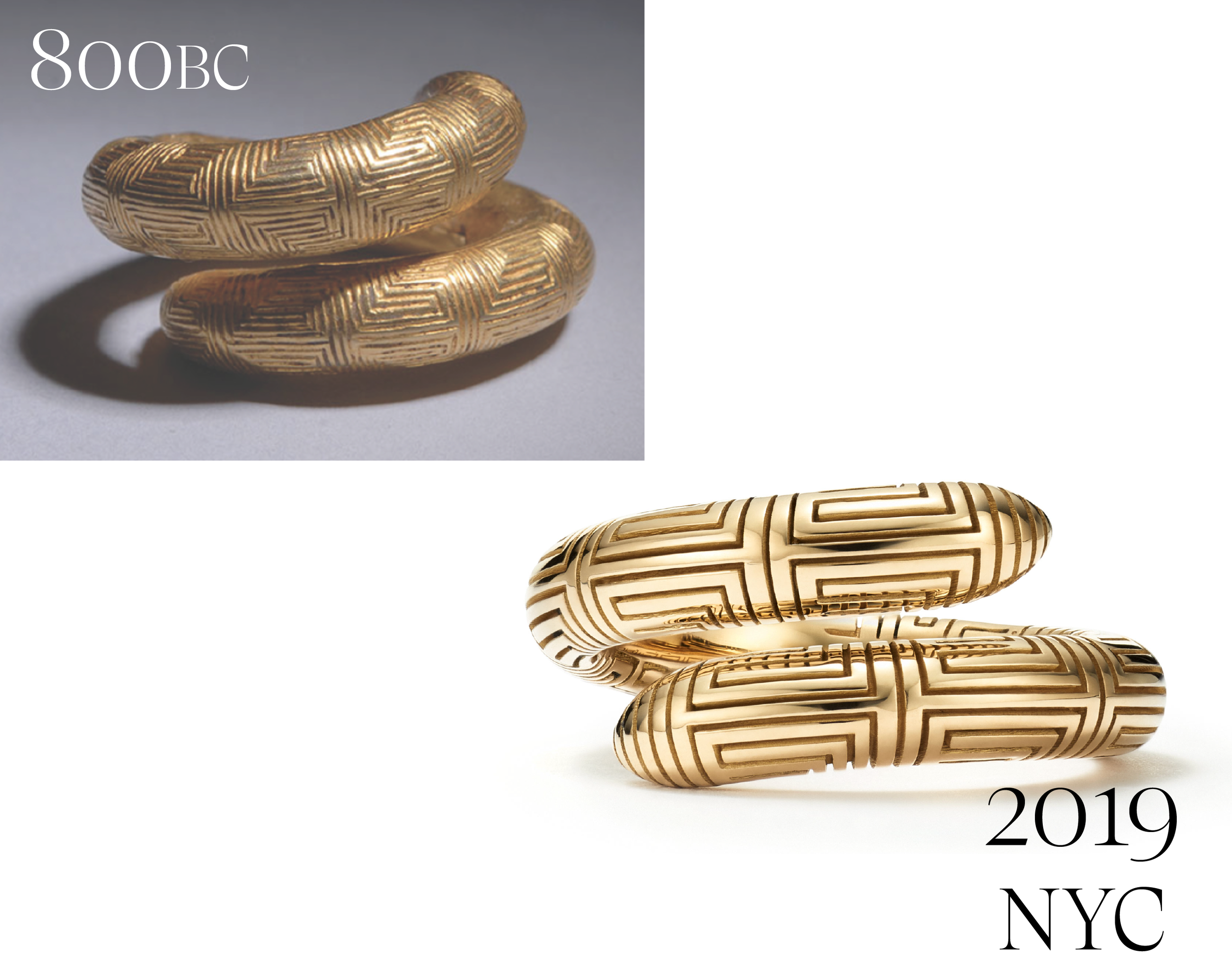 The 800BC ring was originally designed by an ancient artisan in Greece 2800 years ago. Today we handcraft it in 18kt Fairmined Ecological gold right here in NYC.