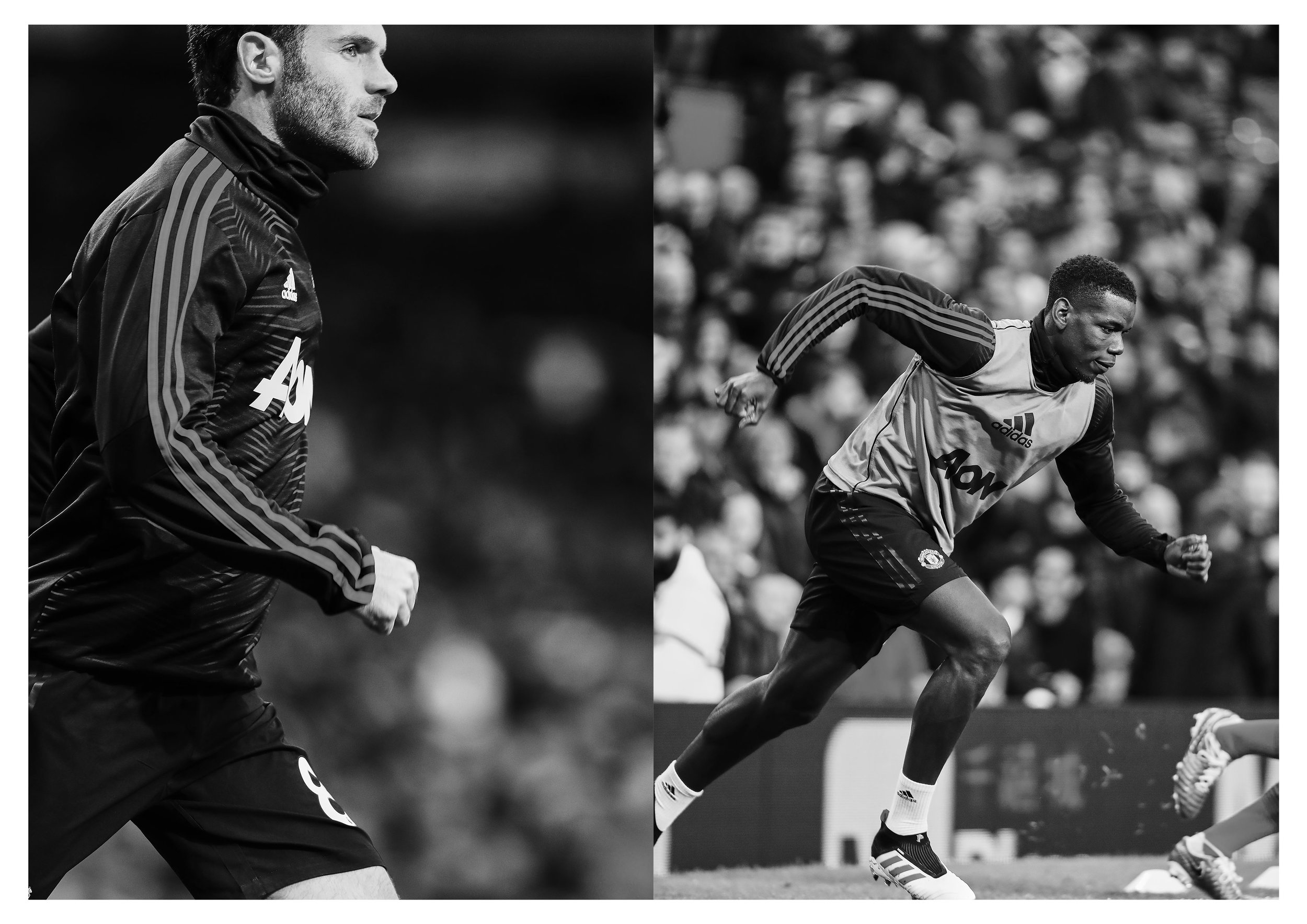Juan Mata & Paul Pogba during the Manchester Derby. Shot for Soccerbible