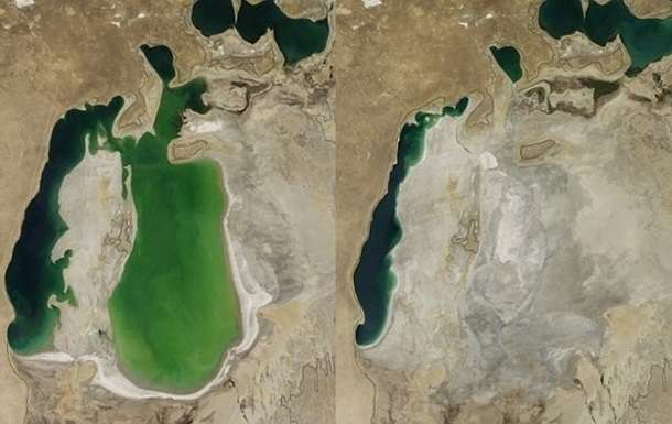Before and after of the Aral Sea, 2000 and 2009. (Image Source: NASA)