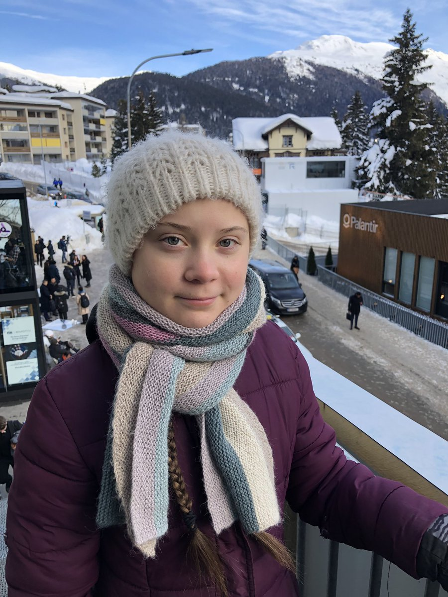 Greta Thungberg in Davos. (Image Source: Twitter)