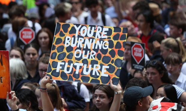 Students striking in Australia. (Image Source: Mike Bowers/The Guardian)