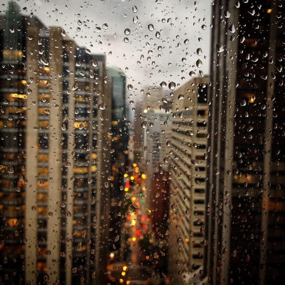 Chicago through the rain.