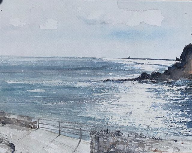 This is the view from my window in Cornwall. The light that falls on the sea in the morning is quite beautiful and changes with every second and every minute. To attempt to paint it has been completely absorbing. Heading back home tomorrow, going to miss this little place of peace and wonder. # Portmellon#Cornwall#seascape#watercolour#art# painting.
