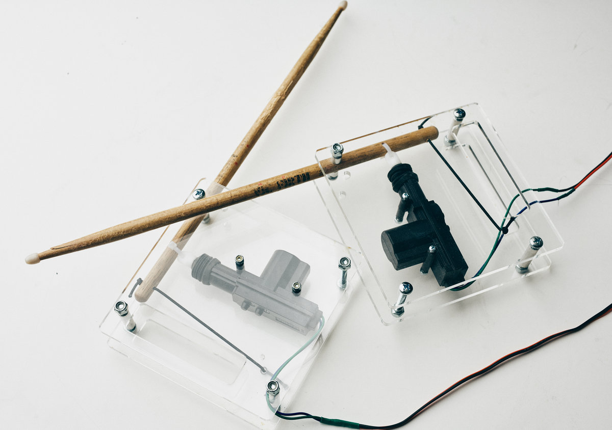 Robotic drumsticks driven with the Modular Muse MIDI controlled motor driver boards