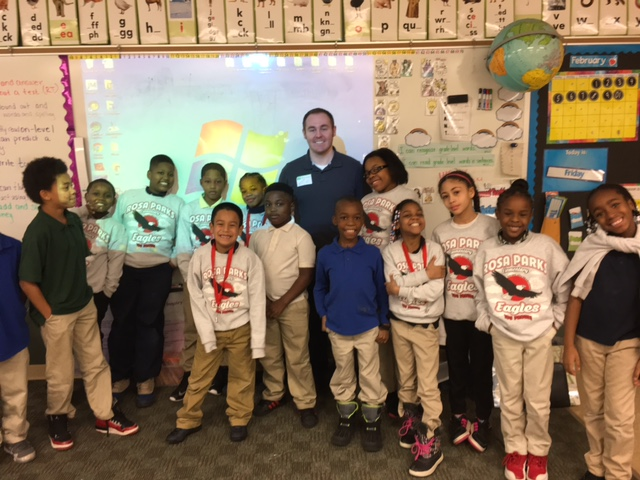 Kyle Layton is visiting with 2nd graders from Rosa Parks Elementary in Toledo, OH on February 10th .