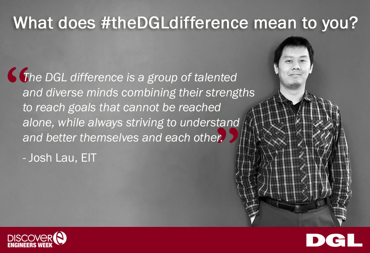 "Josh Lau, EIT joined DGL in 2017 as a civil engineer and has already noticed  #theDGLdifference . To Josh #theDGLdifference is, ""a group of talented and diverse minds combining their strengths to reach goals that cannot be reached alone, while always striving to understand and better themselves and each other."""