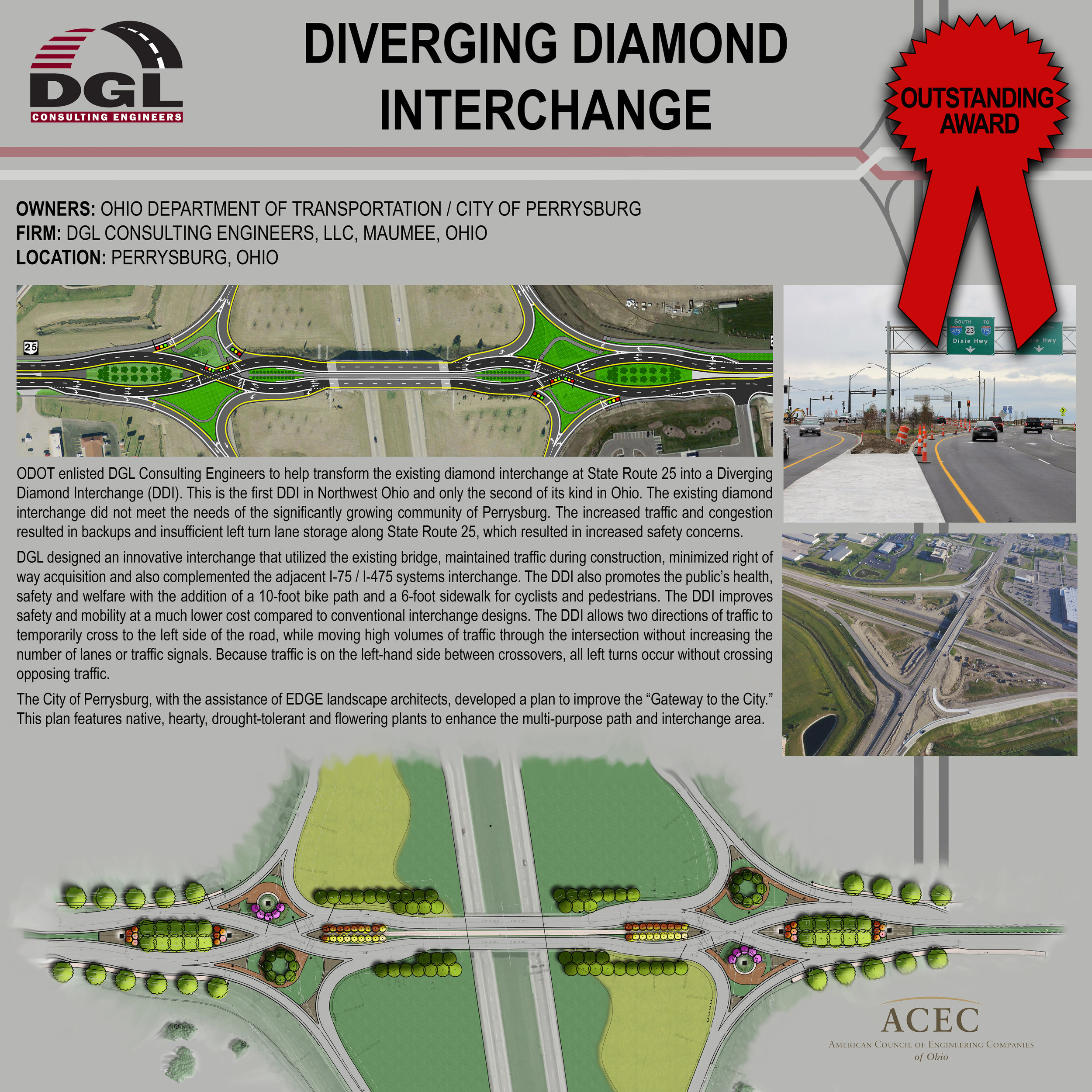 acec ENGINEERING excellence outstanding award: diverging diamond interchange