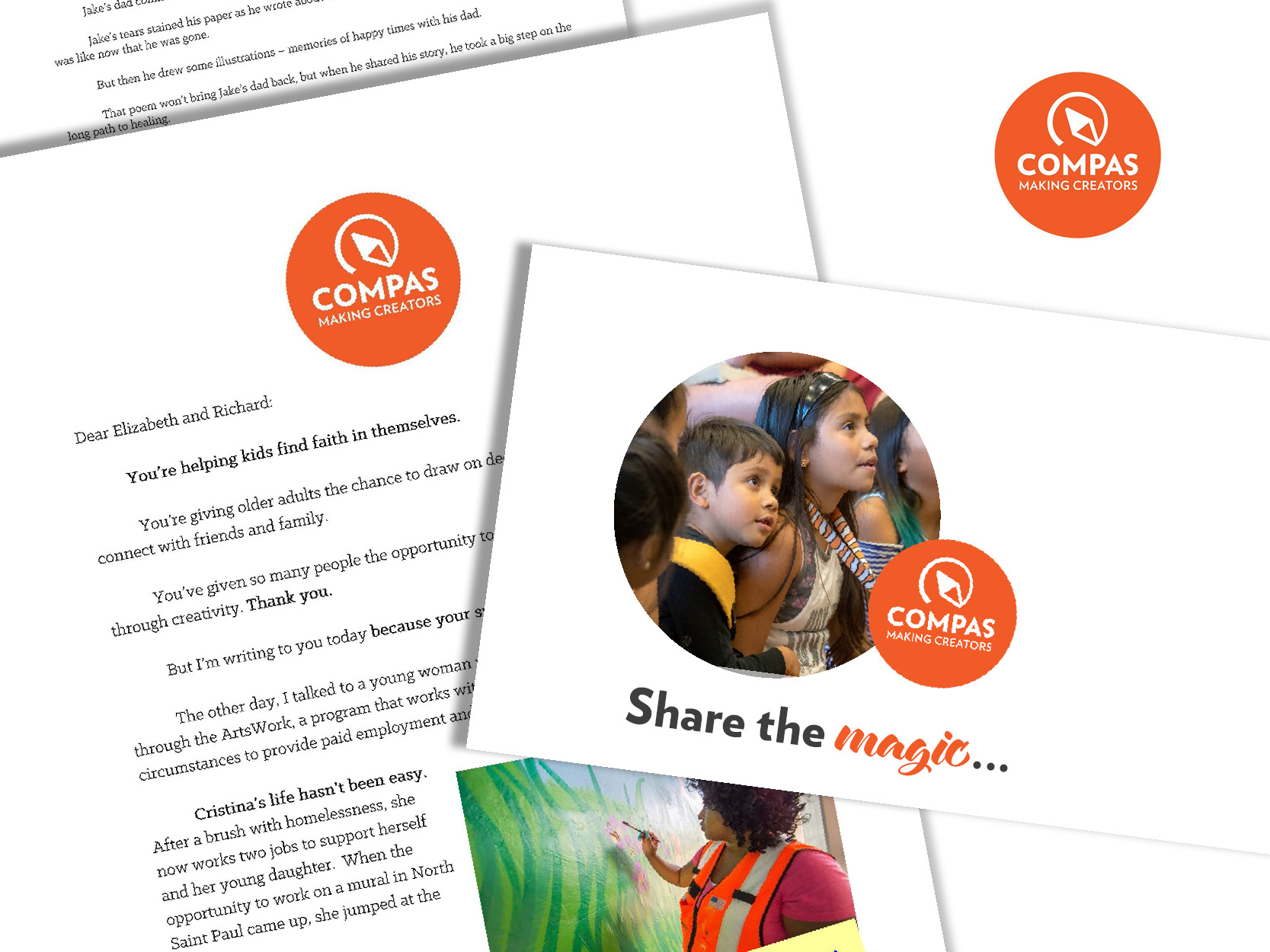 COMPAS Appeals - Strategy, copy, and designAt COMPAS I work to create eye-catching appeals that will engage and motivate donors from the moment they see the envelope in their mailbox. I've created dozens of appeals, increasing giving to annual appeals by more than 40% during my tenure.