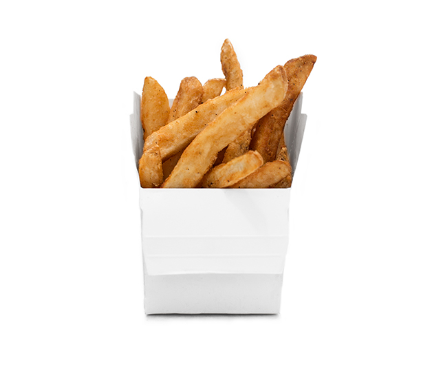 fries - Delicious thick cut fries with a fluffy inside and crispy battered coating on the outside. Just a hint cracked black pepper, garlic, and sea salt for a perfect bite every time!