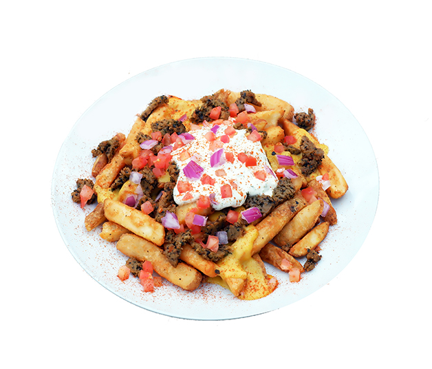 Greek Fries - We take our crispy thick cut fries and smother them in creamy cheeze sauce, gyro 'meat', tzatziki sauce, diced tomatoes, diced red onion and sprinkled with seasoning salt.