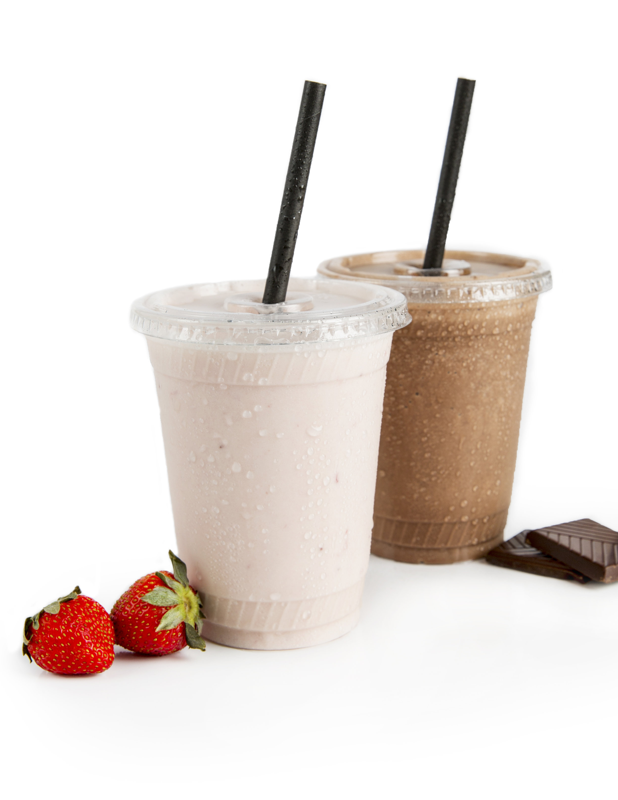 milkShakes - Creamy, rich and delicious plant-based shakes, available in chocolate or strawberry.