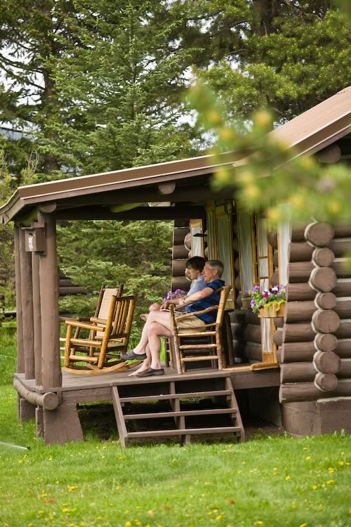 Relaxing on your cabin's front porch.