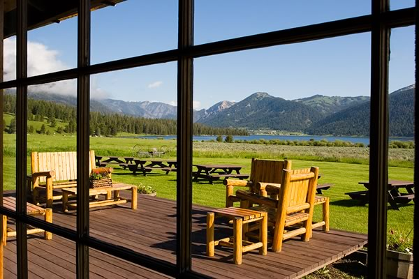 Looking out over the Lodge deck from the Dining Room