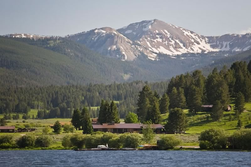 View of the Lodge from the lake, with Coffin Peak in the background.