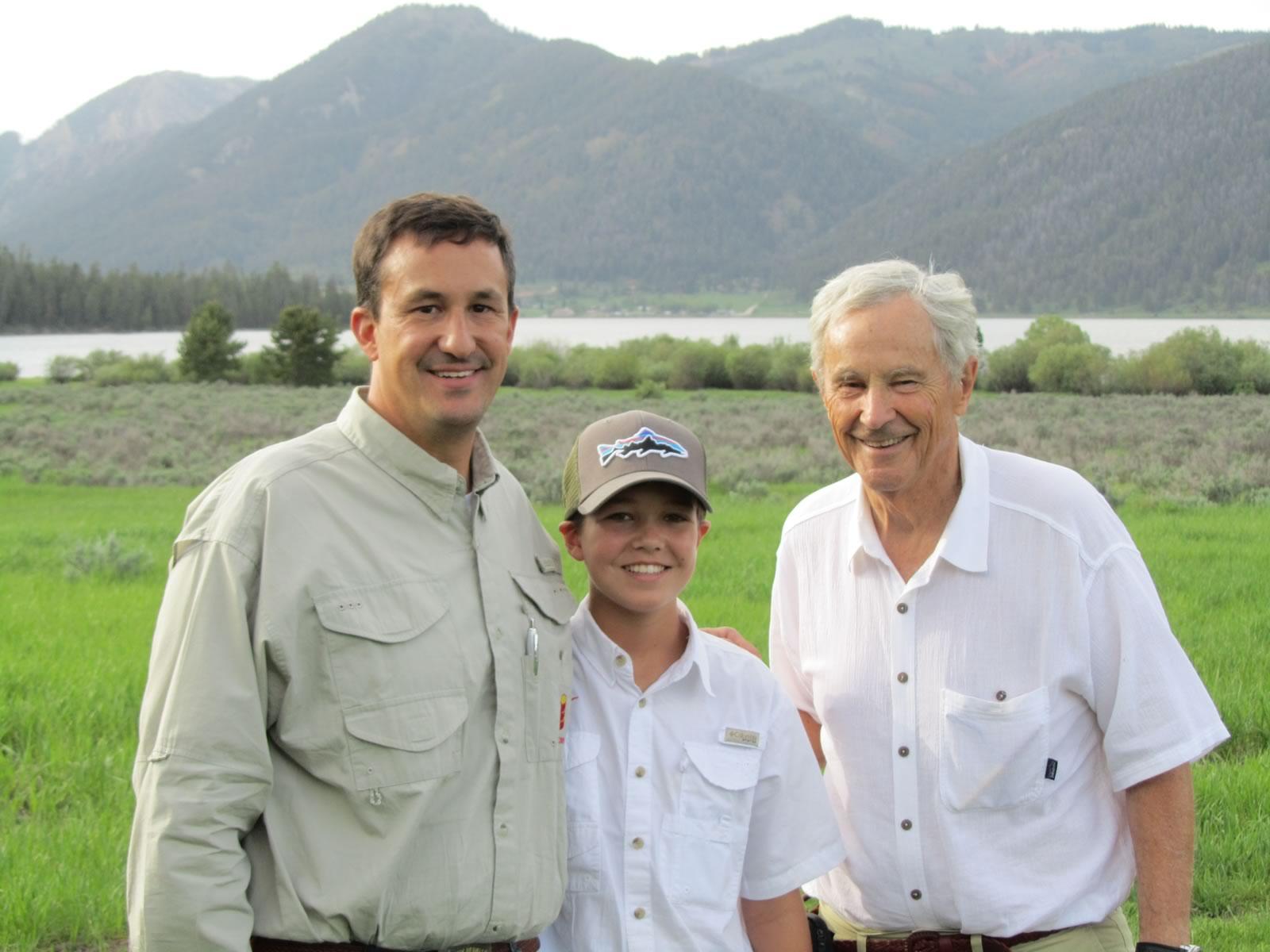 Three generations celebrating a birthday at the Ranch.