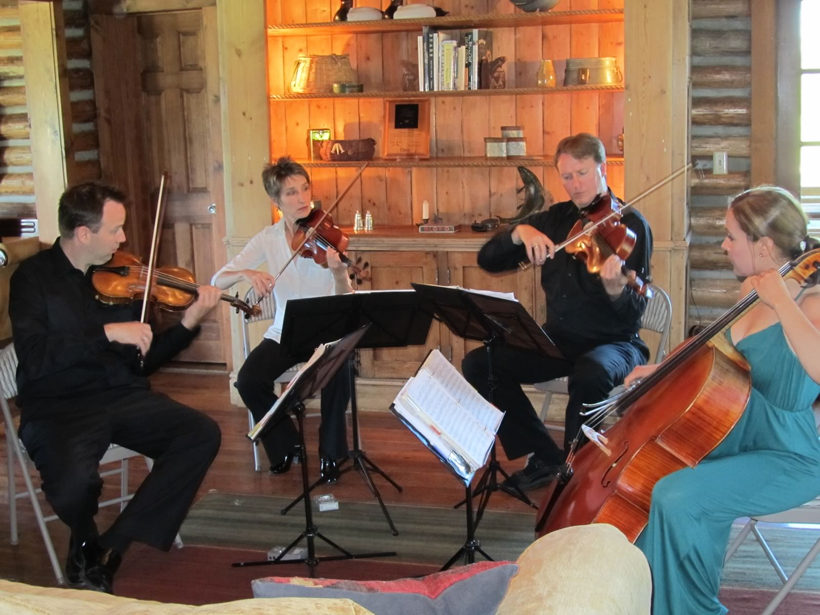 The Fry Street Quartet performing in the Lodge.