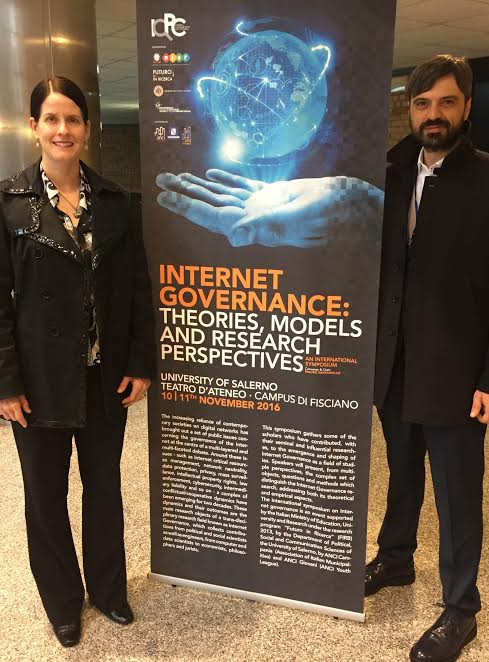Dr. Denardis at the University of Salerno, Italy with the conference organizer Mauro Santaniello. Dr. DeNardis delivered keynote on Rethinking Internet Freedom and Governance in the Age of Cyber Control
