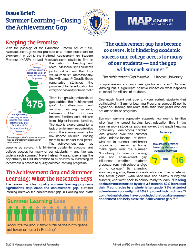 Summer Learning - Closing the Achievement Gap -