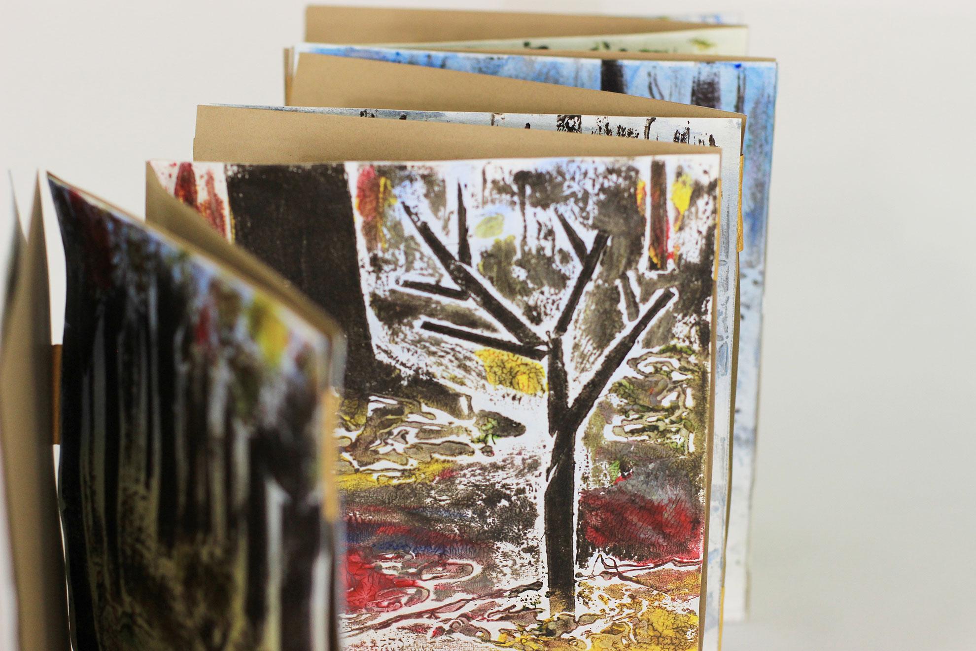 Anna Barhart and J Charles, The Sapling, Acrylic Collagraphy, 2018, Kalamazoo, MI